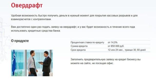 Овердрафт ВТБ