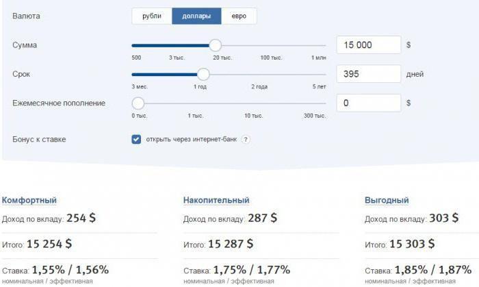 Расчет валютных вкладов на сайте ВТБ