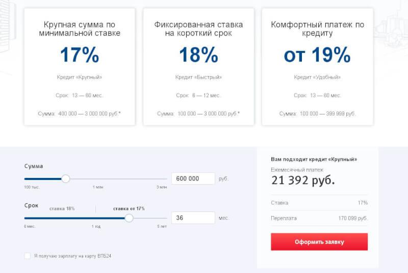 Кредитный калькулятор от банка ВТБ-24
