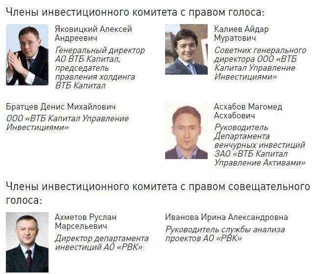 Члены инвестиционного комитета