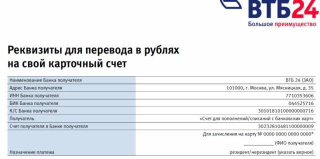 Реквизиты для перевода в рублях
