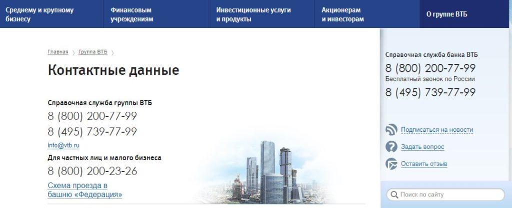 Контактные данные ВТБ
