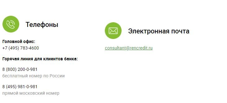 Контакты банка Ренессанс Кредит
