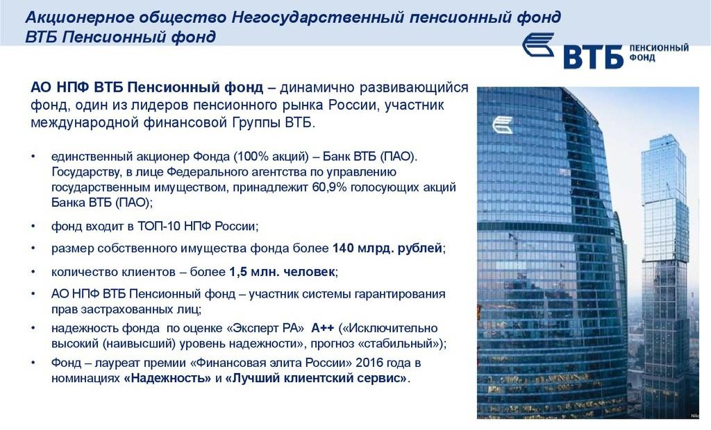 Пенисонный фонд ВТБ