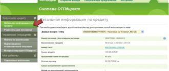 Информация по кредиту в ОТП-Директ
