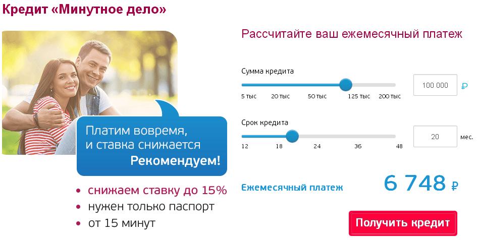 Калькулятор кредита минутное дело УБРиР