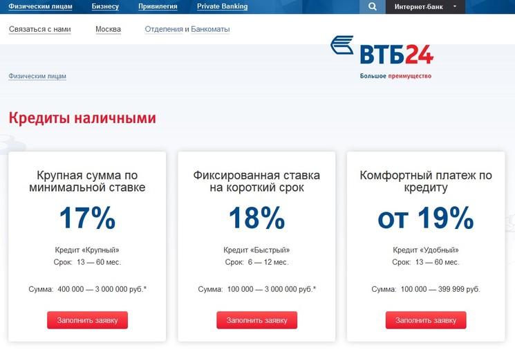 Кредит наличными ВТБ