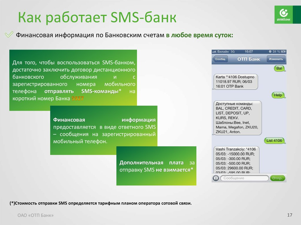 Работа смс банка