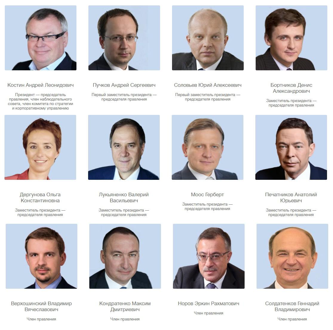 Руководство ВТБ
