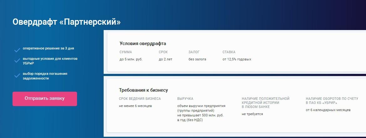 Овердрафт Партнерский УБРиР