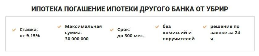 Погашение ипотеки другого банка в УБРИР