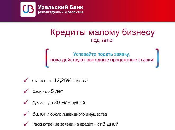 Кредит малому бизнесу под залог УБРиР