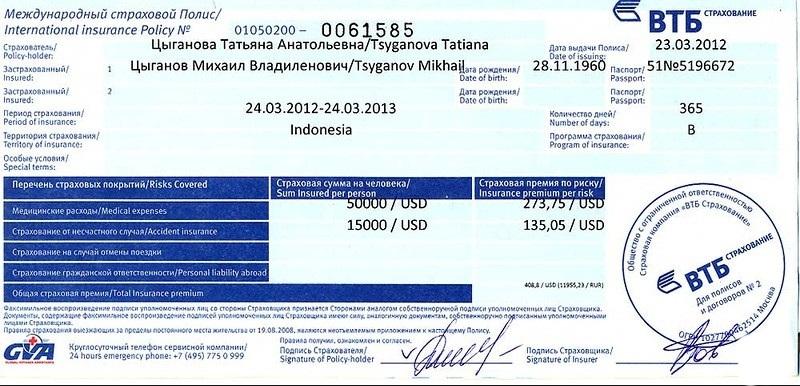 Полис ВТБ страхования