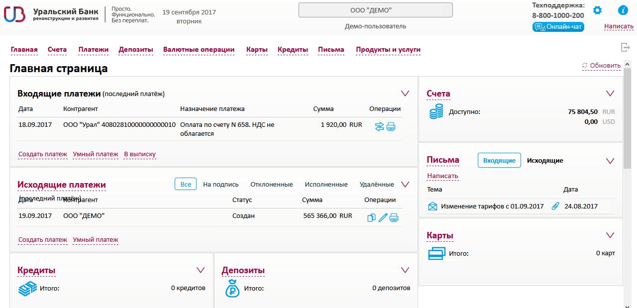 Управление финансами в кабинете УБРиР