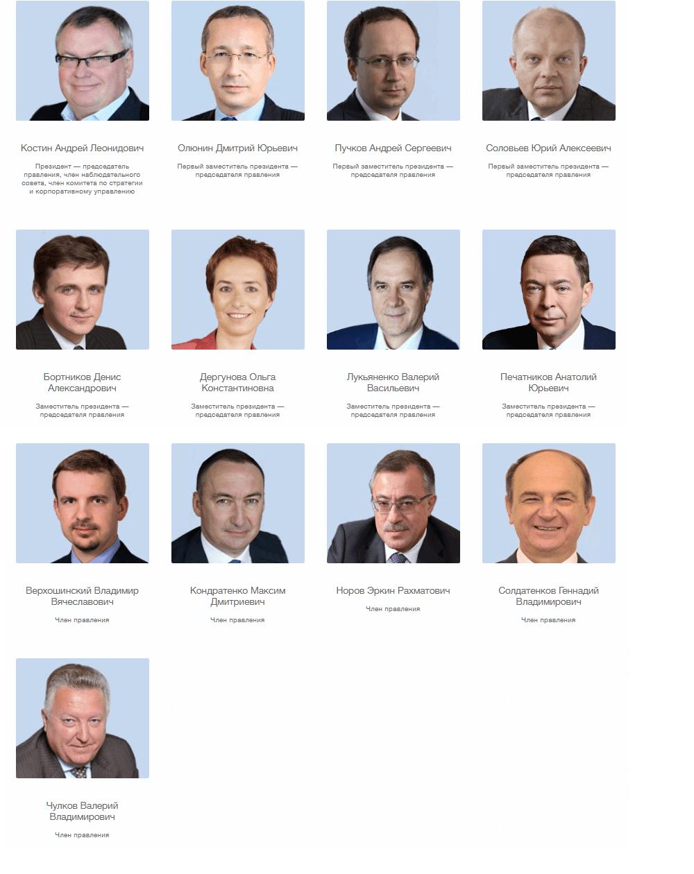 Члены правления ВТБ