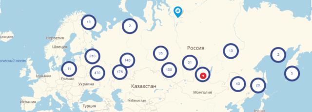 Распространение ВТБ по России